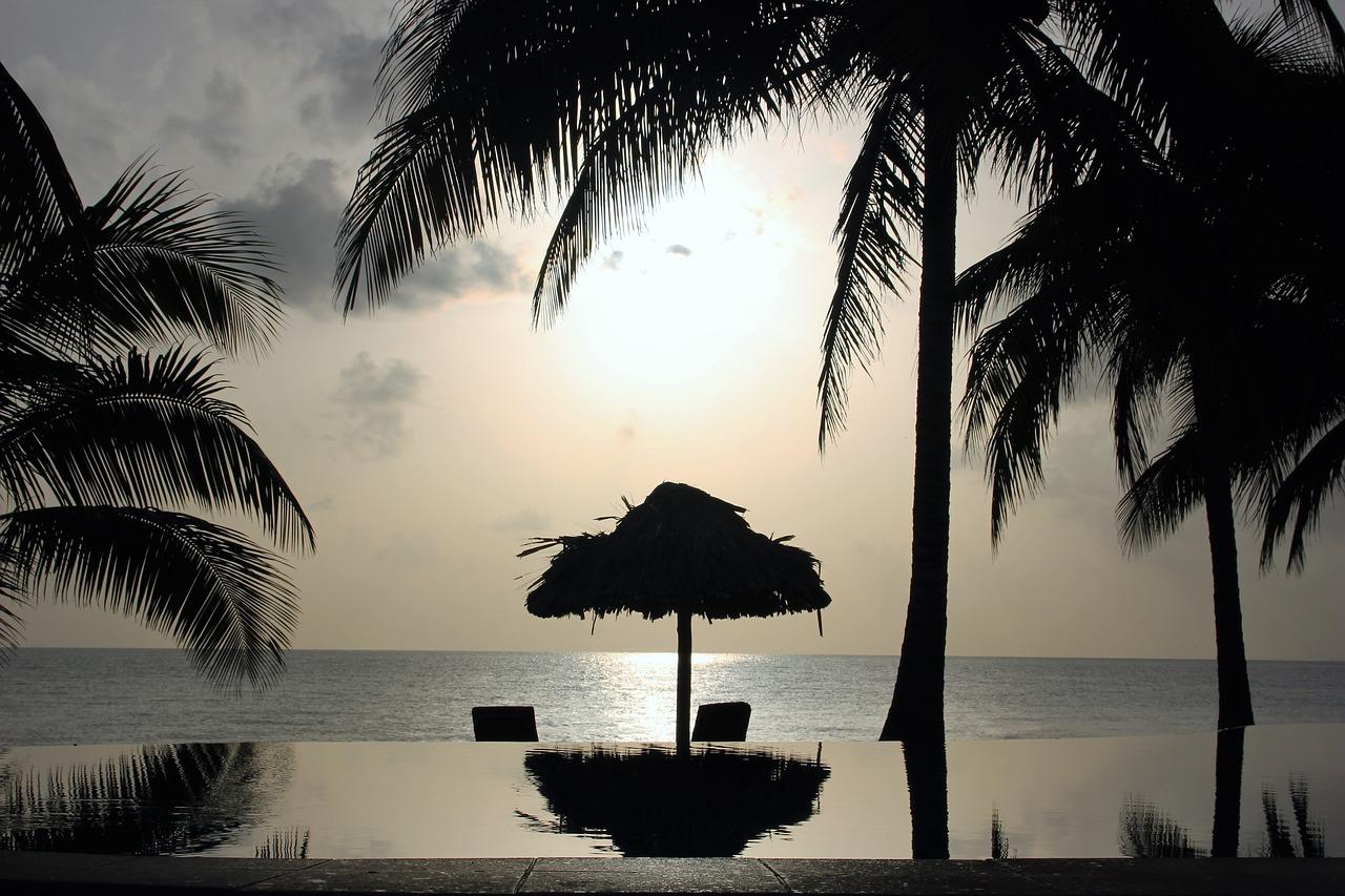Belize ondergaande zon